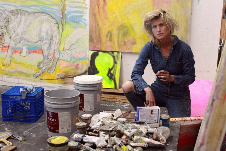 Artist Marie Peter-Tolz at work in her studio. Photo by Jake Davis.