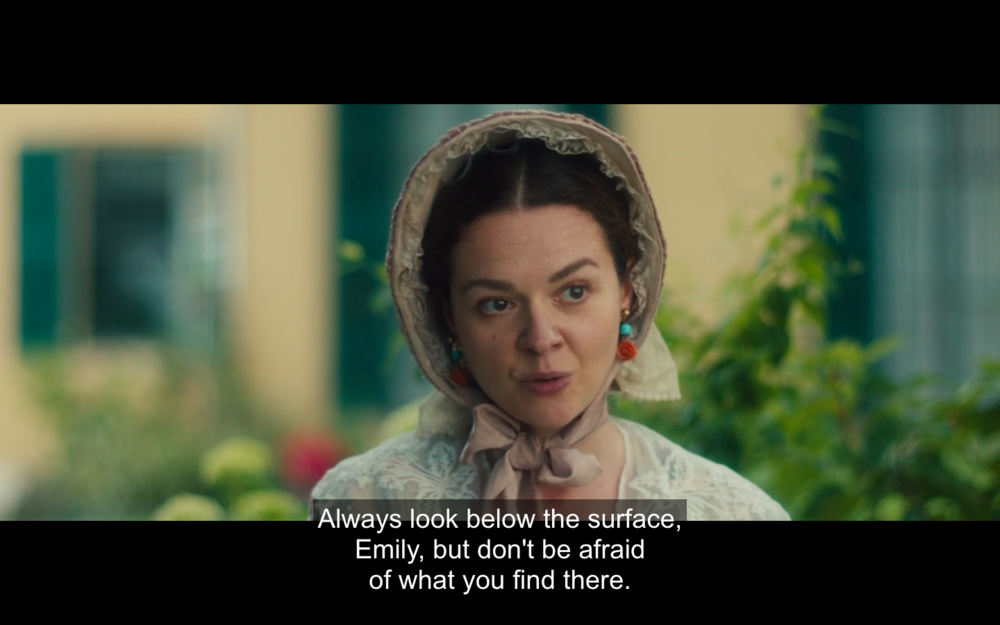 Vryling Buffam encourages her close friend, Emily Dickinson, in the bio-pic A Quiet Passion