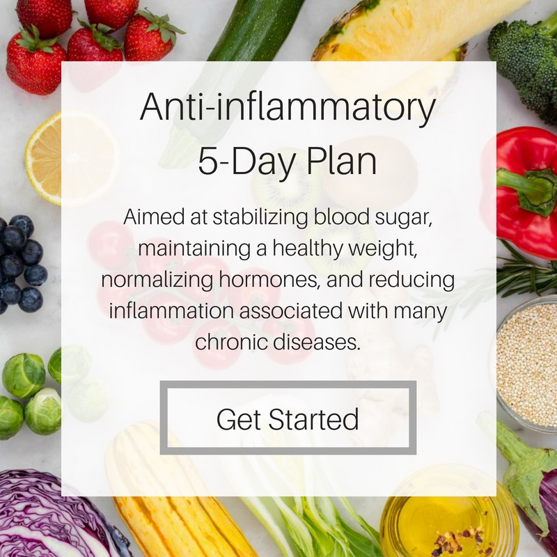 Anti-Inflammatory Meal Plan - This anti-inflammatory plan contains low-glycemic recipes aimed at stabilizing blood sugar, normalizing hormones, promoting healthy digestion, and reducing inflammation associated with many chronic diseases.