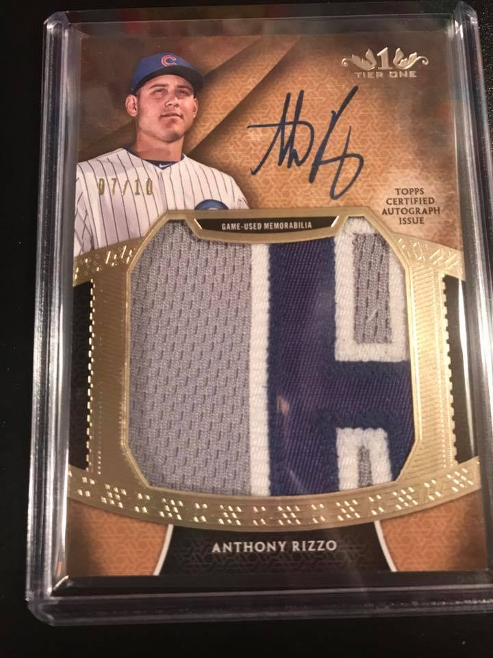 2017 Topps Tier One Prodigious Patches Auto Anthony Rizzo #07/10