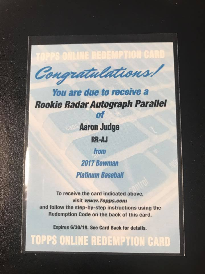2017 Bowman Platinum Aaron Judge Rookie Radar Auto Parallel Redemption
