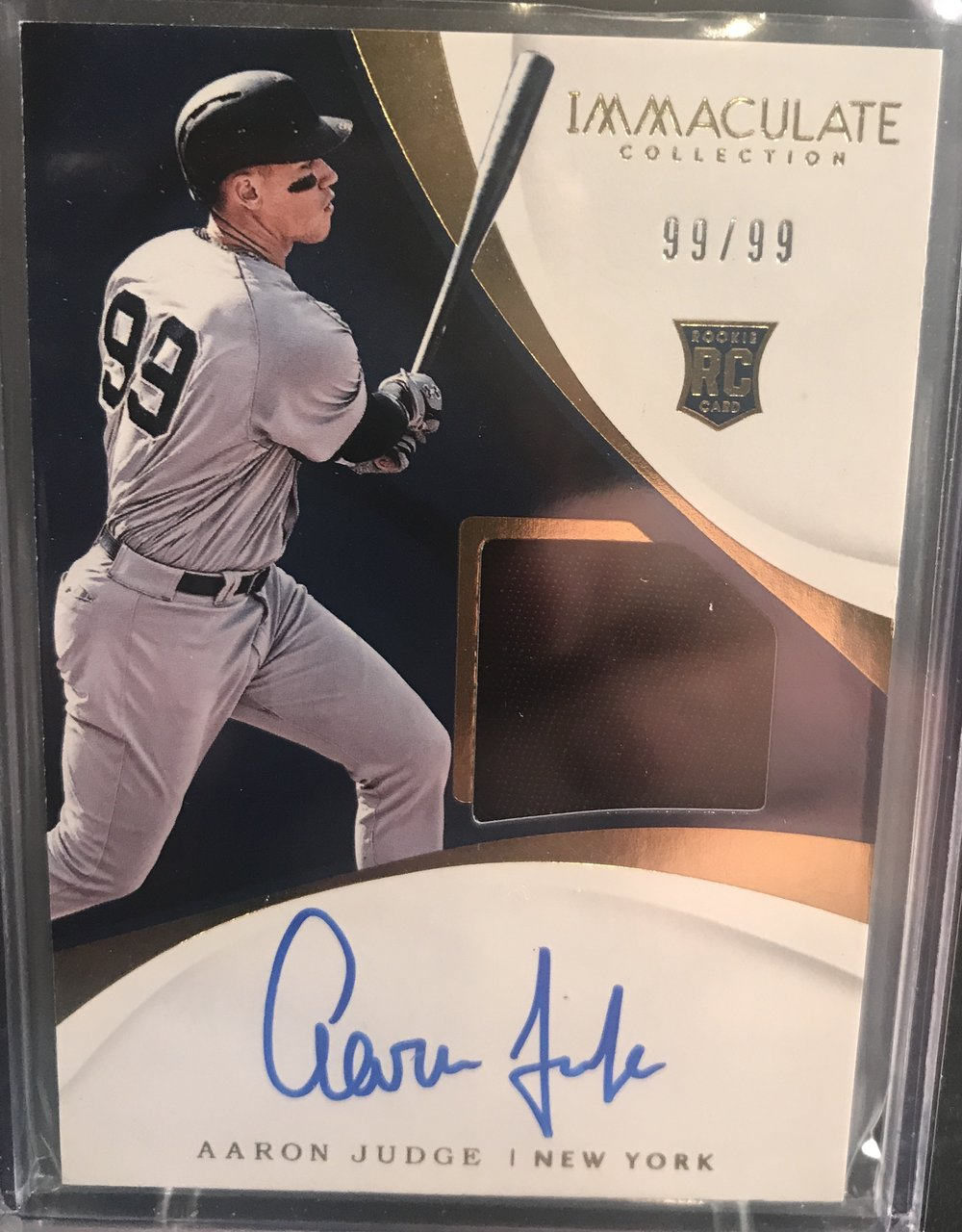 2017 Panini Immaculate Materials Aaron Judge Auto #99/99 JERSEY #!