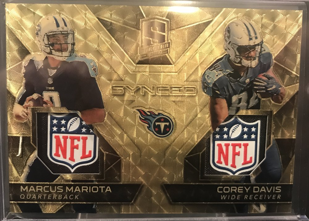 2017 Panini Spectra Synced Swatches Mariota & Davis Gold Dual NFL Shield 1/1