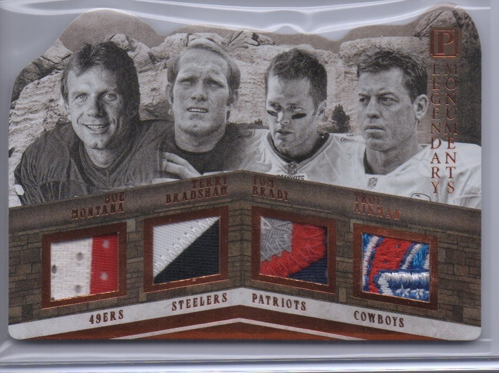 2017 Panini Pantheon Legendary Monuments Montana/Bradshaw/Brady/Aikman Quad Patch #1/3