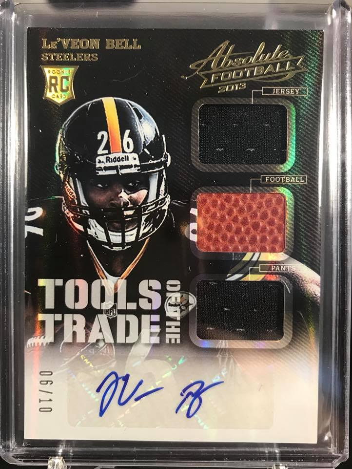 2013 Panini Absolute Tools of the Trade Le'Veon Bell Triple Relic RC Auto #06/10
