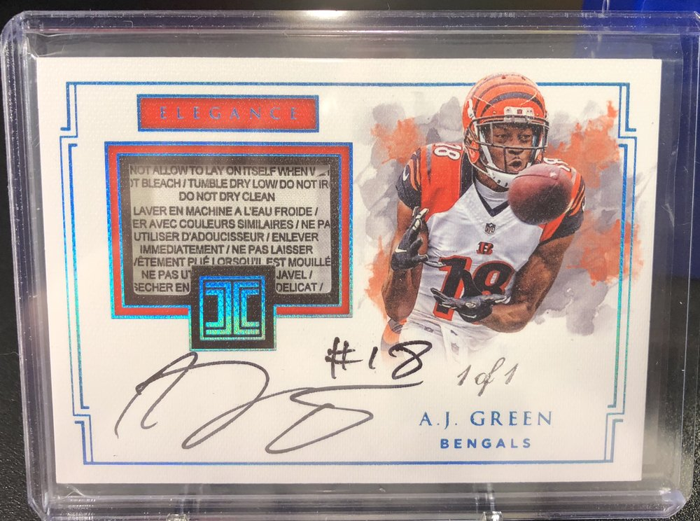 2017 Panini Impeccable A.J. Green Laundry Tag Auto 1/1