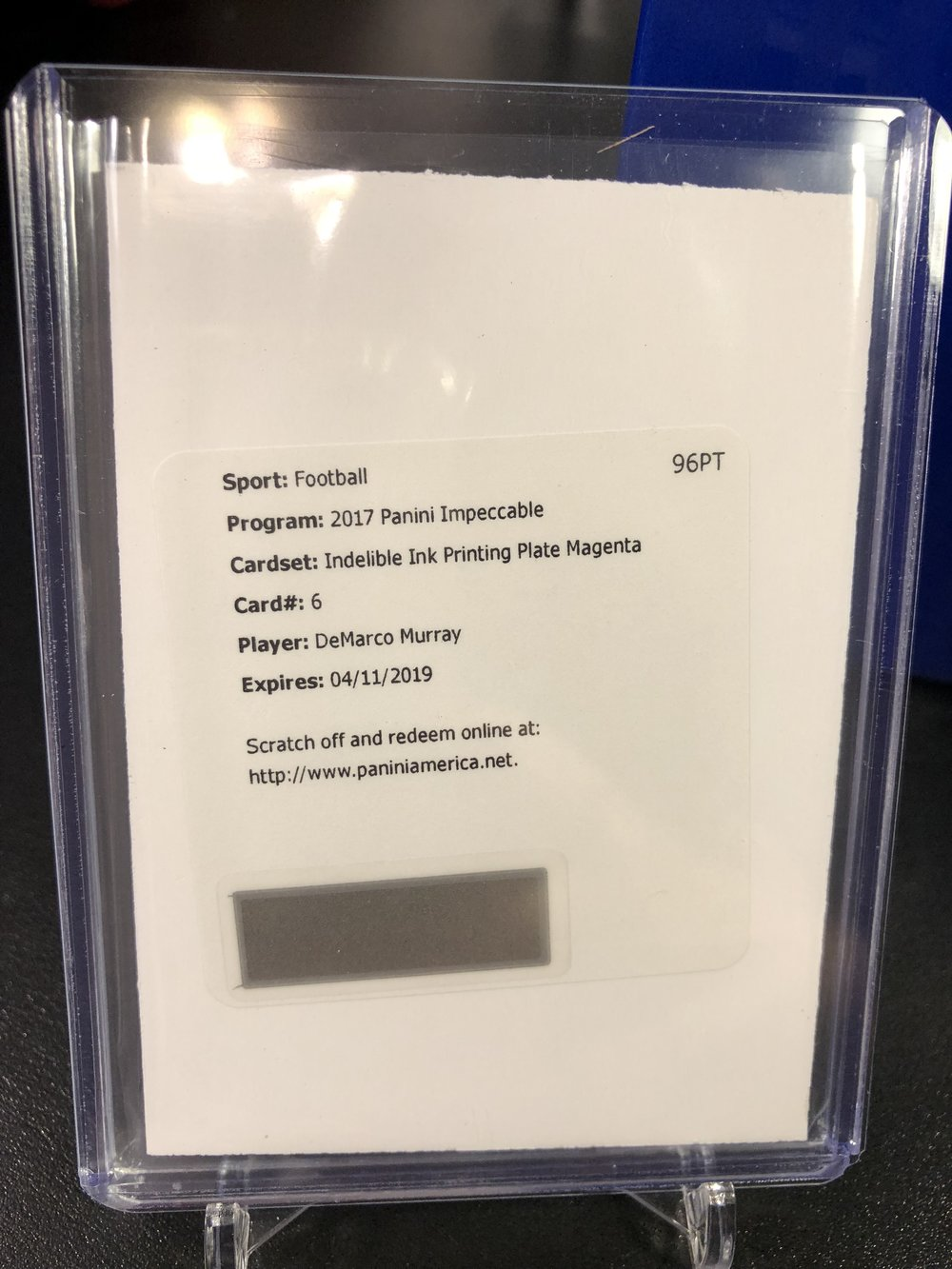 2017 Panini Impeccable DeMarco Murray Indelible Ink 1/1 Printing Plate Auto Redemption