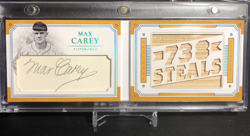 2017 Panini National Treasures Max Carey Cut Auto Relic Booklet #3/5