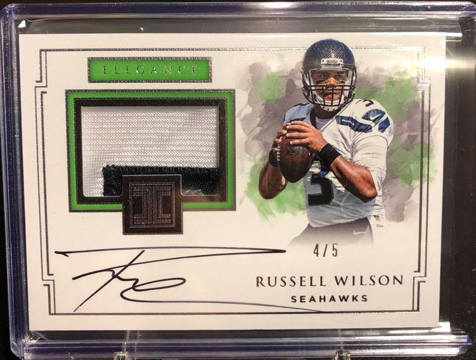 2017 Panini Impeccable Russell Wilson Elegance Patch Auto #4/5