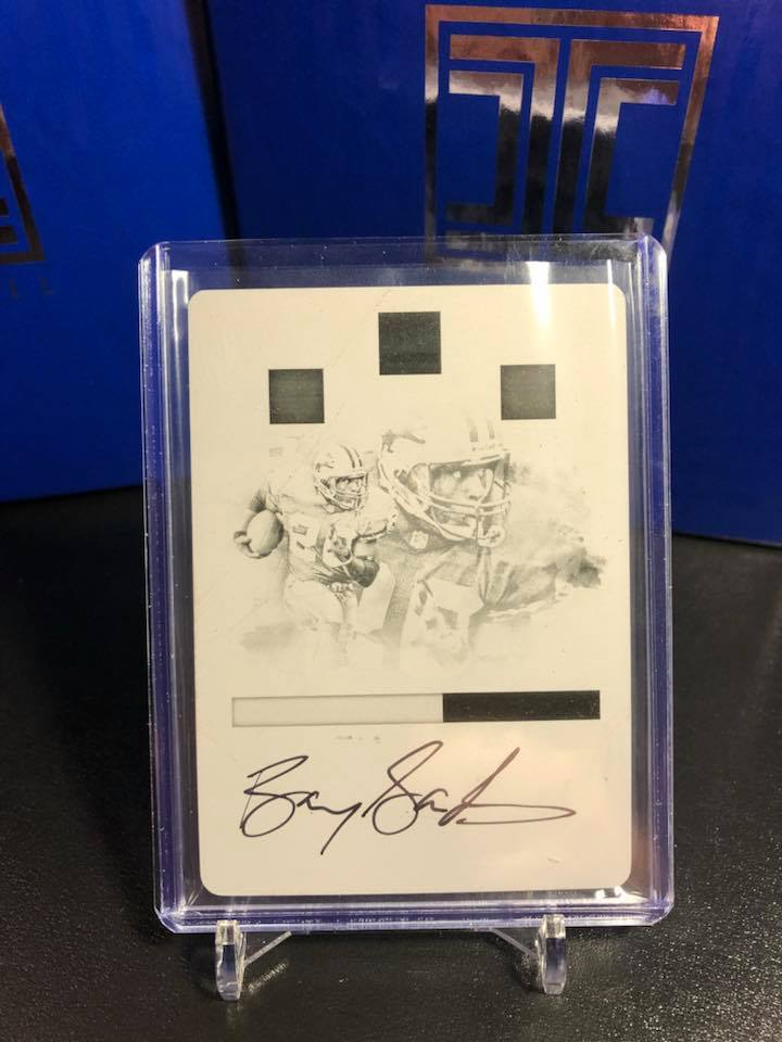 2017 Panini Impeccable Barry Sanders Printing Plate Auto 1/1