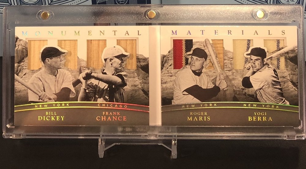 2017 Panini National Treasures Monumental Materials Bill Dickey, Frank Chance, Roger Maris, Yogi Berra 3/5