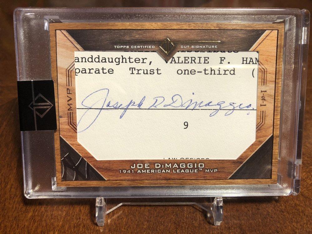 2017 Topps Transcendent Joe DiMaggio 1/1 MVP Cut Auto