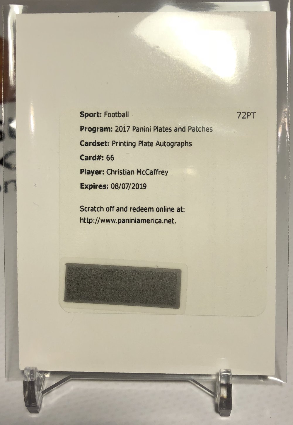 2017 Panini Plates & Patches Christian McCaffrey Printing Plate Autograph 1/1 Redemption
