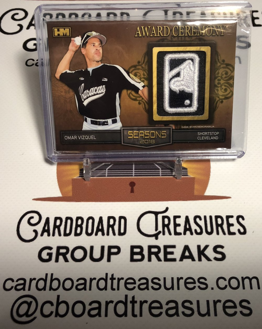 Hits Seasons 2018 Omar Vizquel Award Ceremony MLB Logoman Patch 2/2