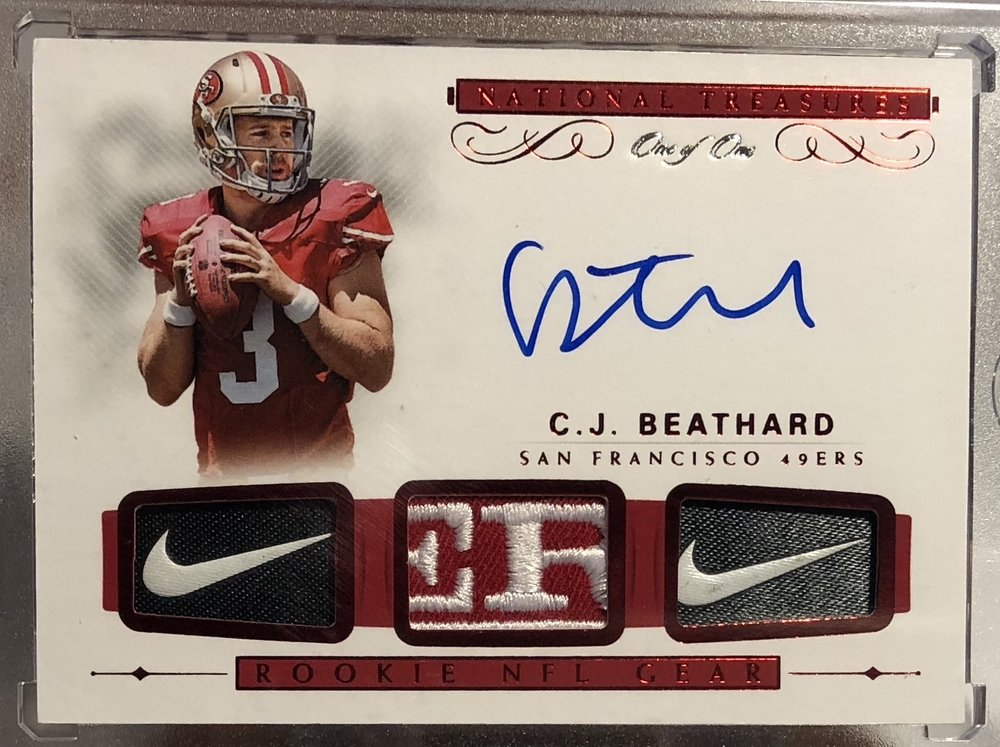 2017 Panini National Treasures C.J. Beathard Rookie NFL Gear Auto 1/1