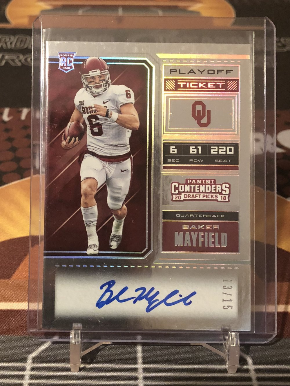 2018 Panini Contenders Draft Picks Baker Mayfield Playoff Ticket Auto /15