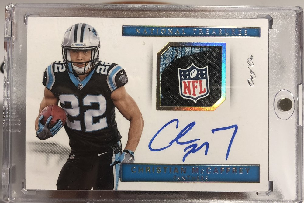 2017 Panini National Treasures Christian McCaffrey NFL Shield Tag Auto 1/1