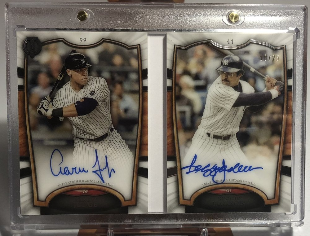 2018 Topps Tribute Aaron Judge & Reggie Jackson Tandems Book Autograph 10/25