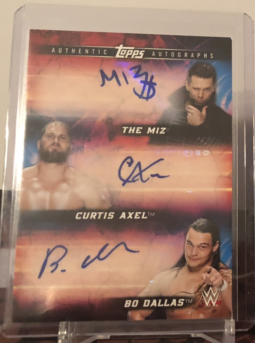 2018 Topps WWE The Miz/Curtis Axel/Bo Dallas Triple Auto Red 1/1