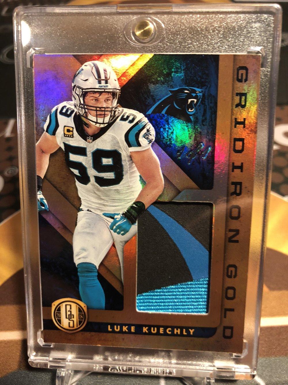 2018 Panini Gold Standard Football Luke Kuechly Gridiron Gold Premium Patch 1/1