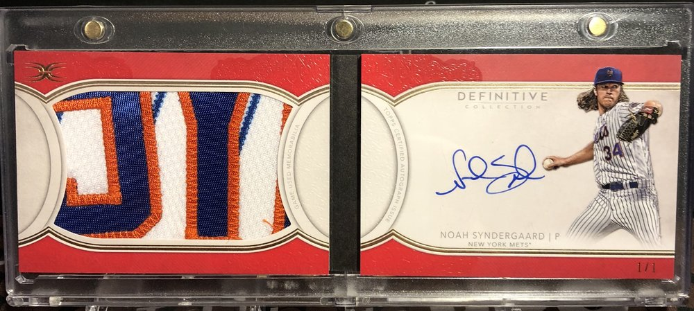 2018 Topps Definitive Collection Noah Syndergaard Nameplate Patch Auto Booklet 1/1