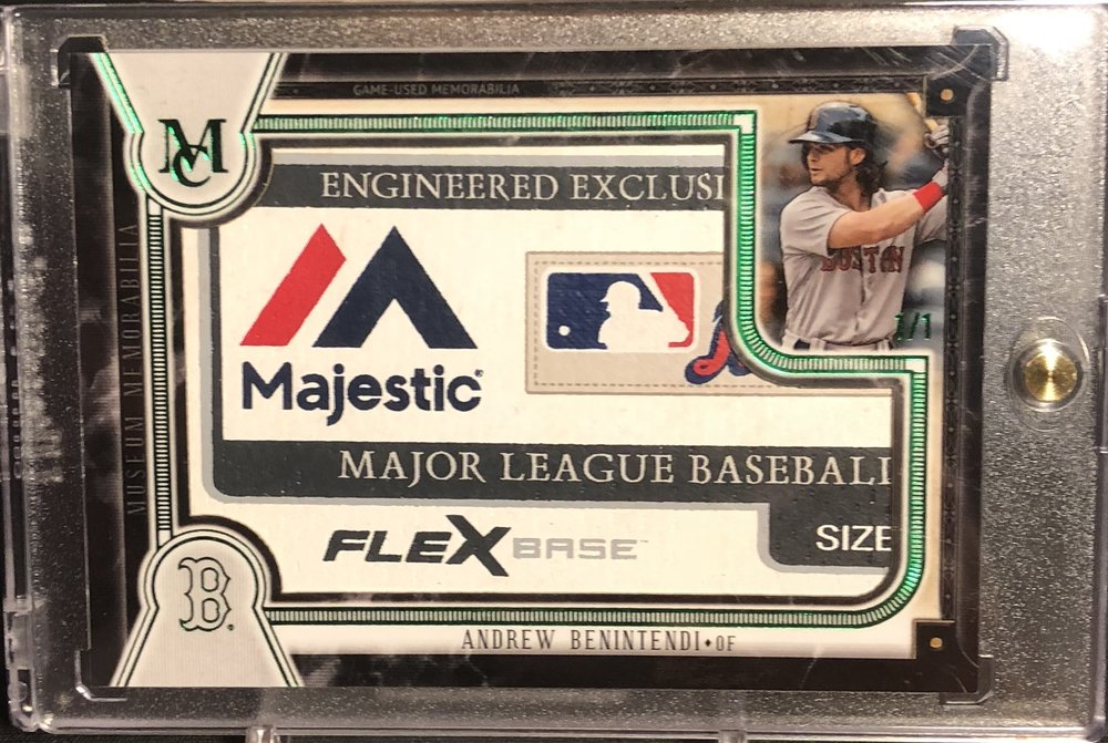 2018 Topps Museum Collection Andrew Benintendi Jumbo Majestic Laundry Tag 1/1