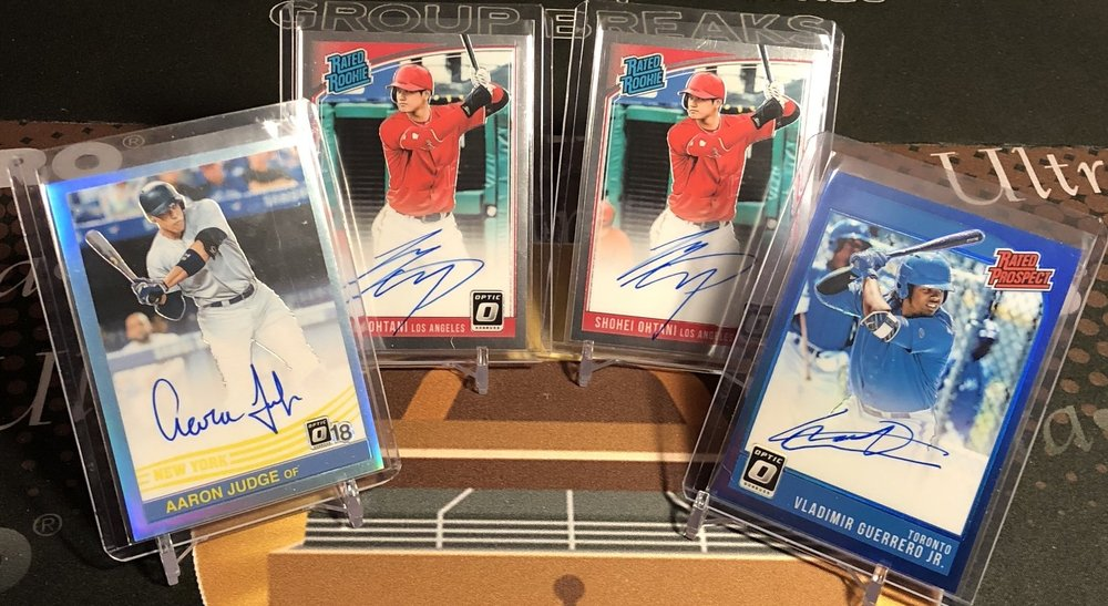2018 Donruss Optic Aaron Judge /15, Shohei Ohtani x2, & Vladimir Guerrero /50 Autos