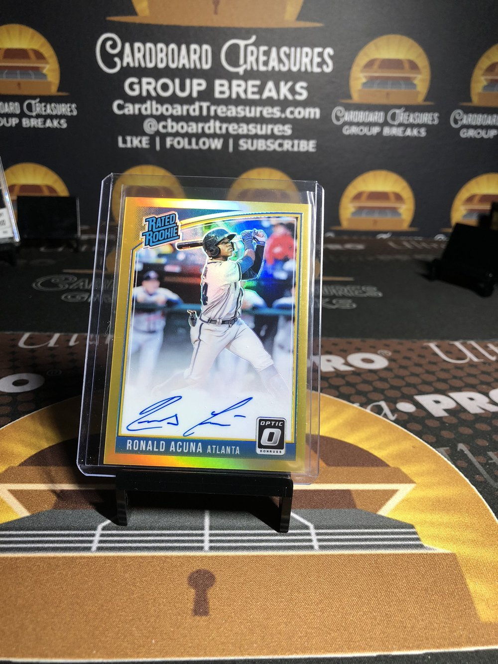 2018 Panini Chronicles Donruss Optic Rated Rookie Autograph Ronald Acuna Gold /10