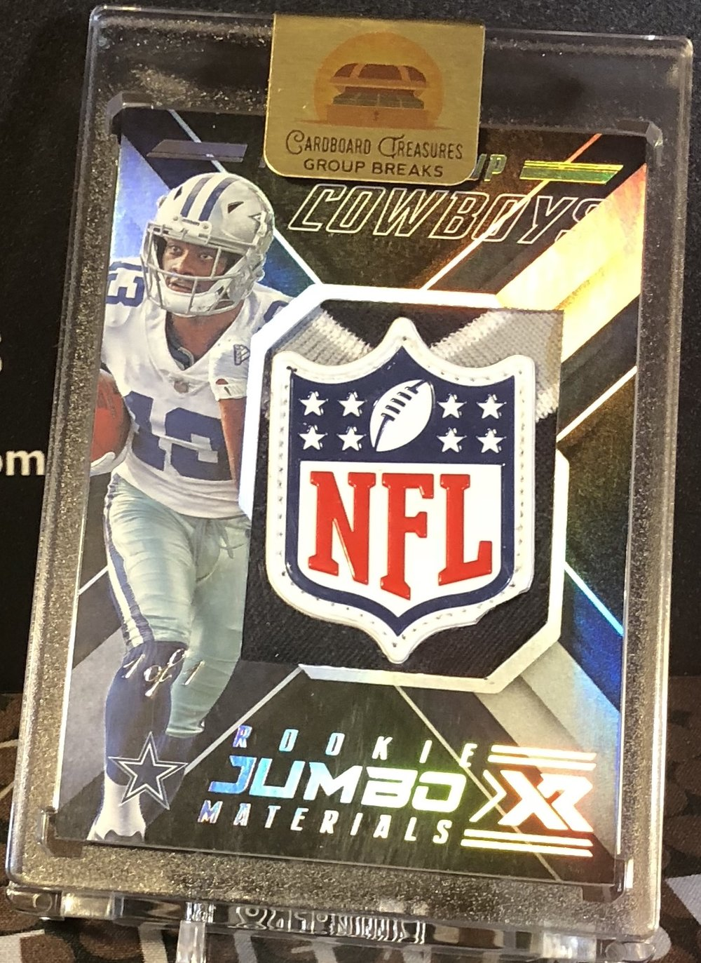2018 Panini XR Michael Gallup Rookie Jumbo Materials NFL Shield 1/1