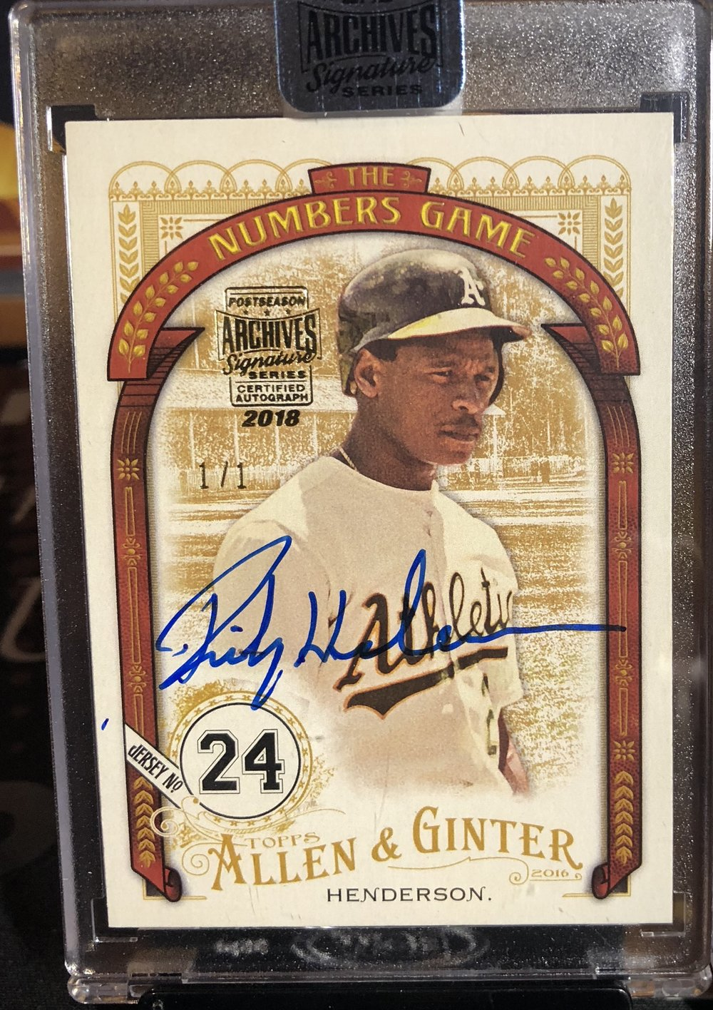 2018 Topps Archives Signature Series Rickey Henderson Auto 1/1