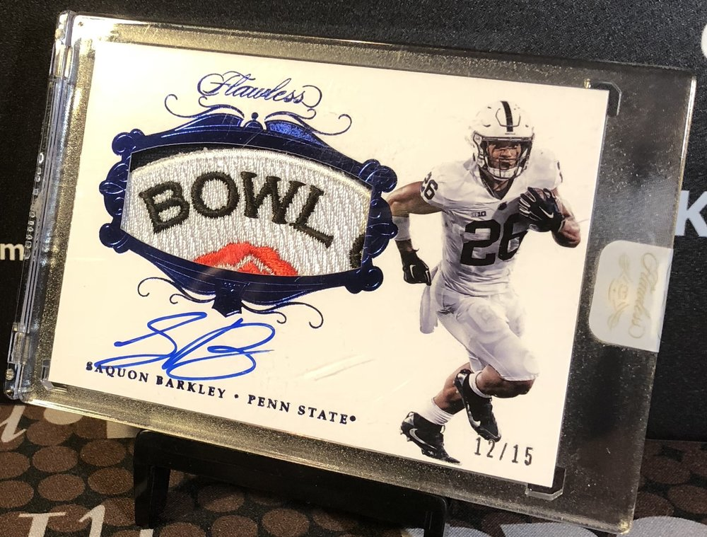 2018 Panini Flawless Collegiate Saquon Barkley Bowl Patch Auto 12/15