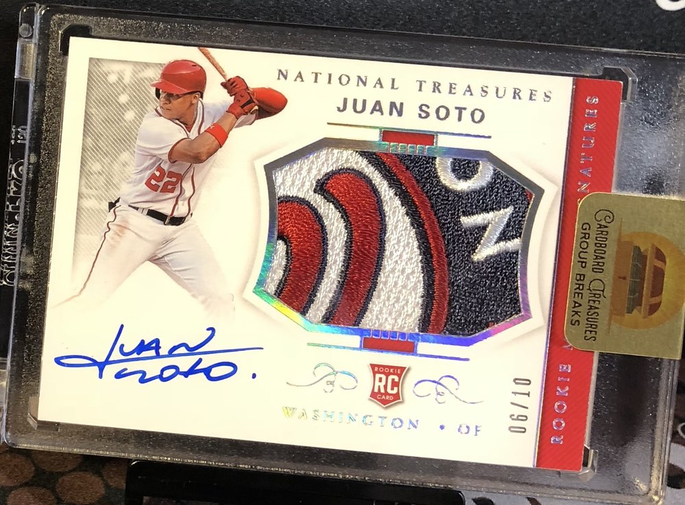 2018 Panini National Treasures Juan Soto Rookie Team Logo Patch Auto /10
