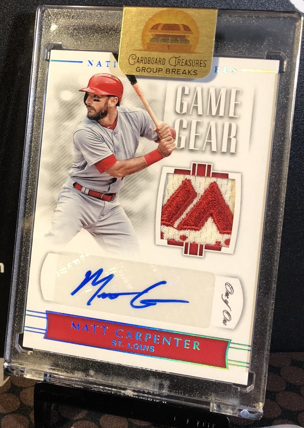 2018 Panini National Treasures Matt Carpenter Majestic Patch Auto 1/1