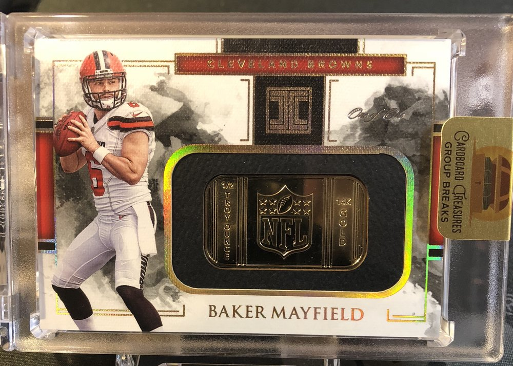 2018 Panini Impeccable Baker Mayfield NFL Shield Gold 1/1