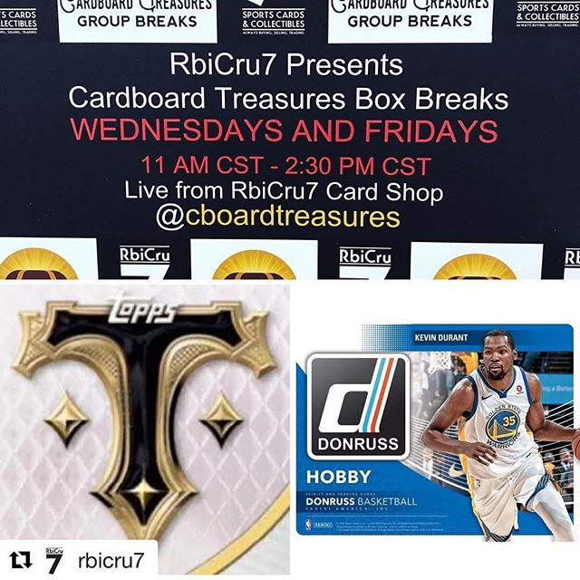 #Repost @rbicru7 with @get_repost ・・・ Tomorrow is release day!!! Boxes/cases will be available both in the #cardshop and on www.RbiCru7.com after we open tomorrow. Matt @cboardtreasures will also be on RbiCru7 #instagramLive & #FacebookLive from 11am-2:30pm CST breaking boxes that are ordered on RbiCru7.com feel free to check it out and place your orders... 2018 @topps Triple Threads ⚾️ $200 box. 2018-19 @paniniamerica Donruss 🏀 $95 box. @gts_sports_entertainment @southernhobbysports @ballcardxchange @sports_card_junction @sportscarddirect #topps #panini #triplethreads #donruss #whodoyoucollect #SupportYourLCS