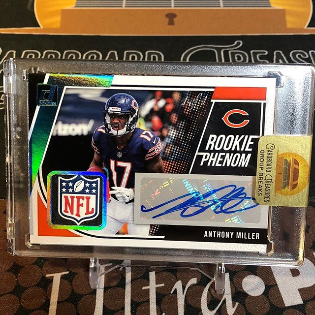 John G. scored this @a.mill3 rookie @nfl shield #autograph in the @bears spot during tonight's 2018 @paniniamerica #donruss #footballcards half #casebreak. #whodoyoucollect #thehobby #collect #groupbreaks