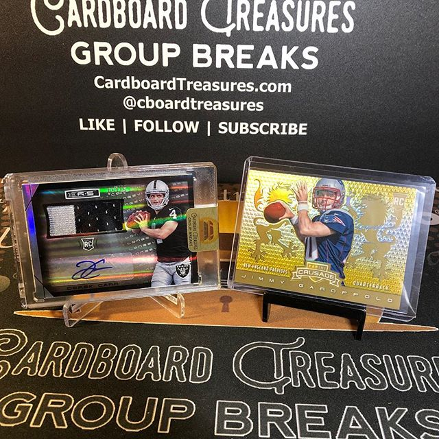 @derekcarrqb #rpa #rookie #patch #autograph /15 and @jimmypolo10 Crusade Gold /10 from last night's 2014 @paniniamerica #rookiesandstars #groupbreak. #whodoyoucollect #thehobby #collect #footballcards #derekcarr #jimmygaroppolo
