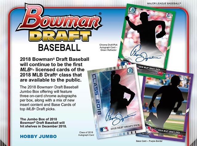 2018 #bowmandraft #hobby #jumbo #cases available for preorder on the website. $1,349/case, shipping on release day. Tap photo for details. #baseballcards #prospects #thehobby #collect