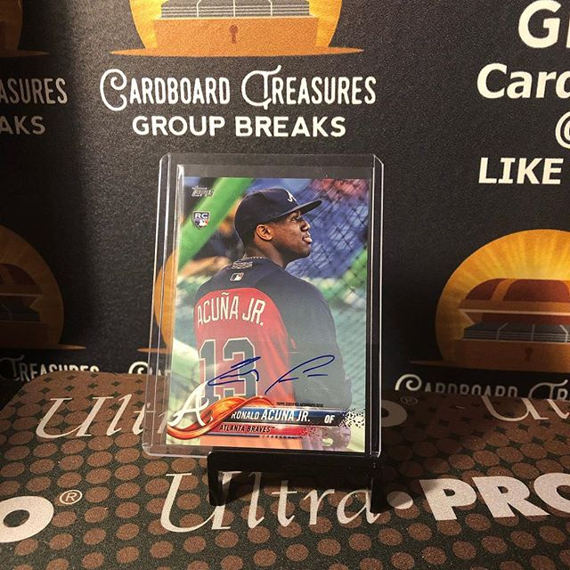 🔥🔥🔥Congrats John G. on hitting this @ronaldacuna13 #ssp #rookie #autograph from tonight's 2018 @topps #toppsupdate #baseballcards #casebreak. @rbicru7 @groupbreakchecklists @breakerculture #thehobby #collect #groupbreaks