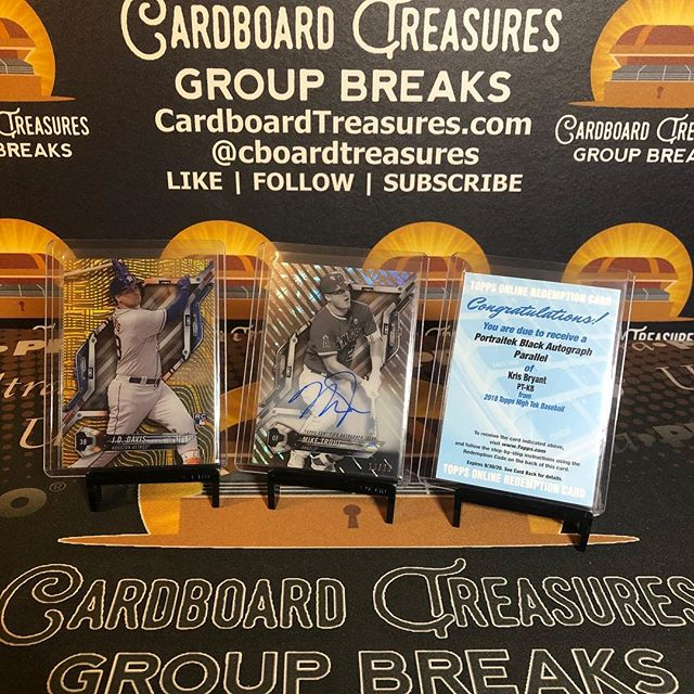 Excellent 1/2 case 2018 @topps #hightek #baseballcards random player #groupbreak tonight highlighted by #jddavis #1of1 #rookiecard, @miketrout b&w #autograph /20, & @kris_bryant17 redemption. #thehobby #collect #casebreak #boxbreak