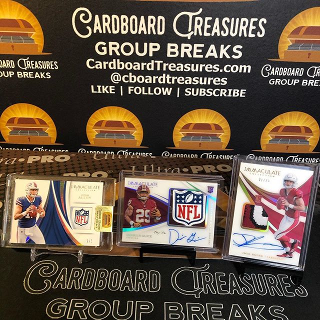2018 @paniniamerica #immaculate #footballcards half #casebreak @joshallenqb @nfl #shield #glove #tag /5, @dhasickestt #1of1 #nflshield #rookie #patch #auto, @josh3rosen #rpa /25. #whodoyoucollect #thehobby #collect #groupbreaks #joshallen #derriusguice #joshrosen #buffalobills #washingtonredskins #arizonacardinals #autograph #groupbreaks