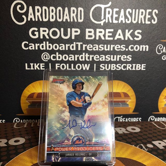 Congrats Armando on the @jkelenic_1010 #1of1 #superfractor #autograph from last night's 2018 @topps #bowmansbest #baseballcards #groupbreaks. #thehobby #collect #casebreak #jarredkelenic #mets #mariners #prospect