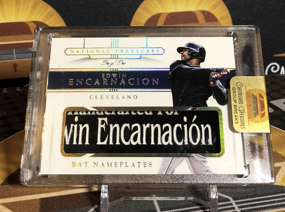 2018 Panini National Treasures Edwin Encarnacion Bat Nameplate 1/1