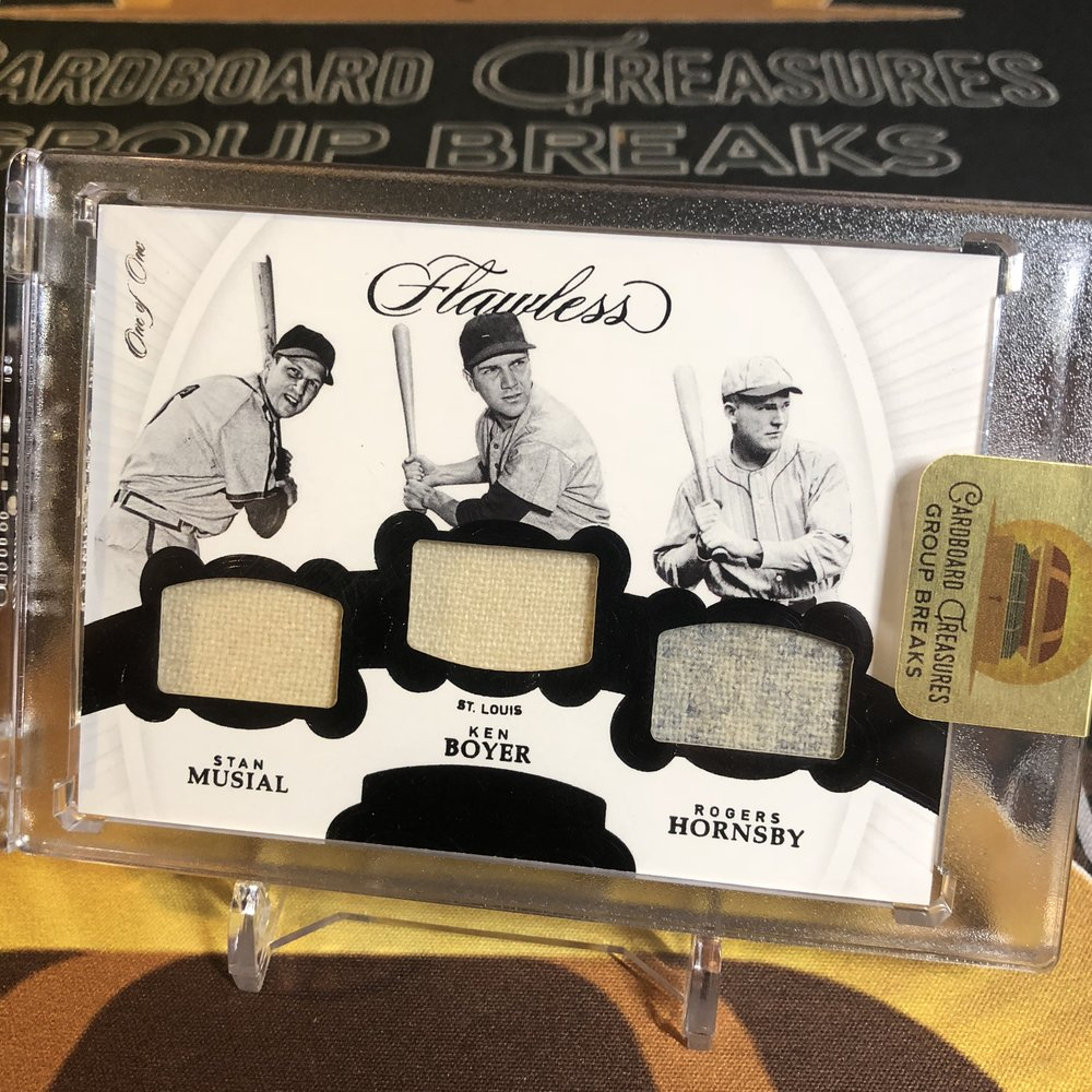 2018 Panini Flawless Musial/Boyer/Hornsby Triple Jersey 1/1