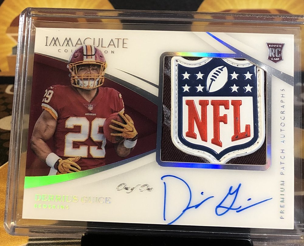 2018 Panini Immaculate Derrius Guice Rookie NFL Shield Patch Autograph 1/1