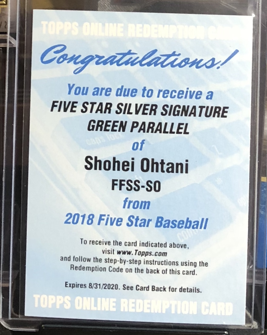 2018 Topps Five Star Shohei Ohtani Silver Signature Green /10