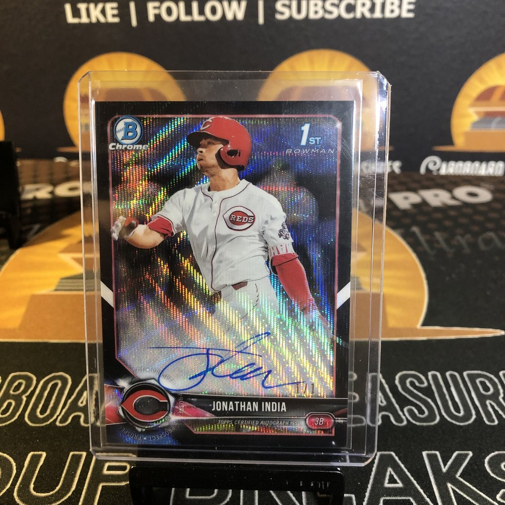 2018 Bowman Draft Jonathan India 1st Bowman Chrome Prospect Autograph Black Wave Refractor 1/1