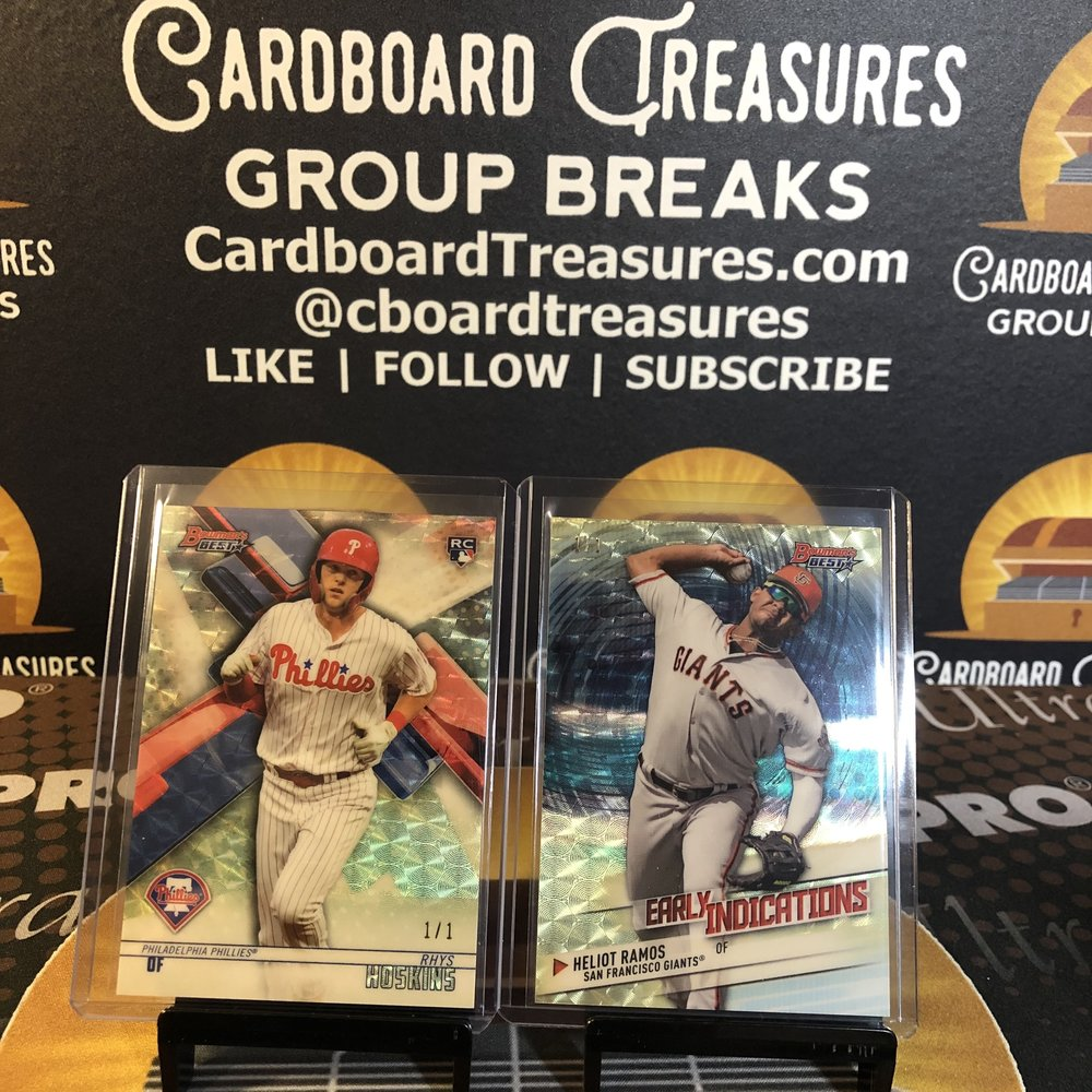 2018 Bowman's Best Rhys Hoskins Rookie & Heliot Ramos Early Indicators Superfractor 1/1 (Same Case, Consecutive Boxes)