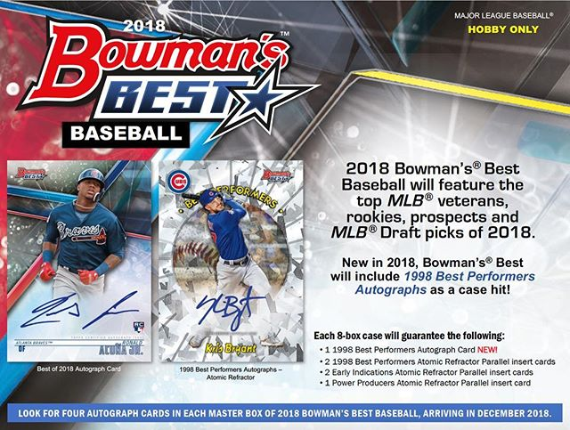 Spots go on sale at 10 AM CST today on the website for tonight's 2018 @topps #bowmansbest full case breaks 5 & 6 live on FB, YouTube, and Breakers. Don't miss out! #thehobby #collect #casebreak #groupbreak #baseballcards