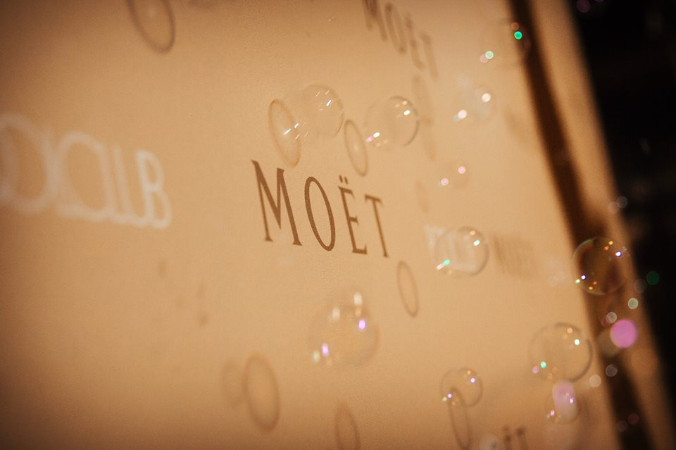 Moet Logo and Bubbles at a Corporate Party
